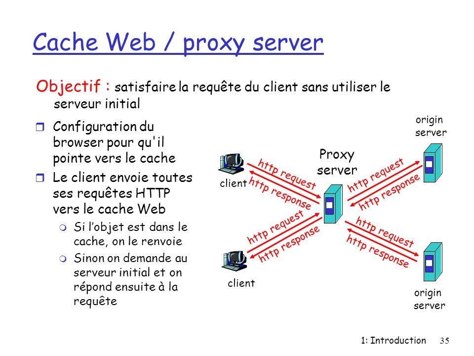 1: Introduction35 Cache Web / proxy server r Configuration du browser pour qu'il pointe vers le cache r Le client envoie toutes ses requêtes HTTP vers