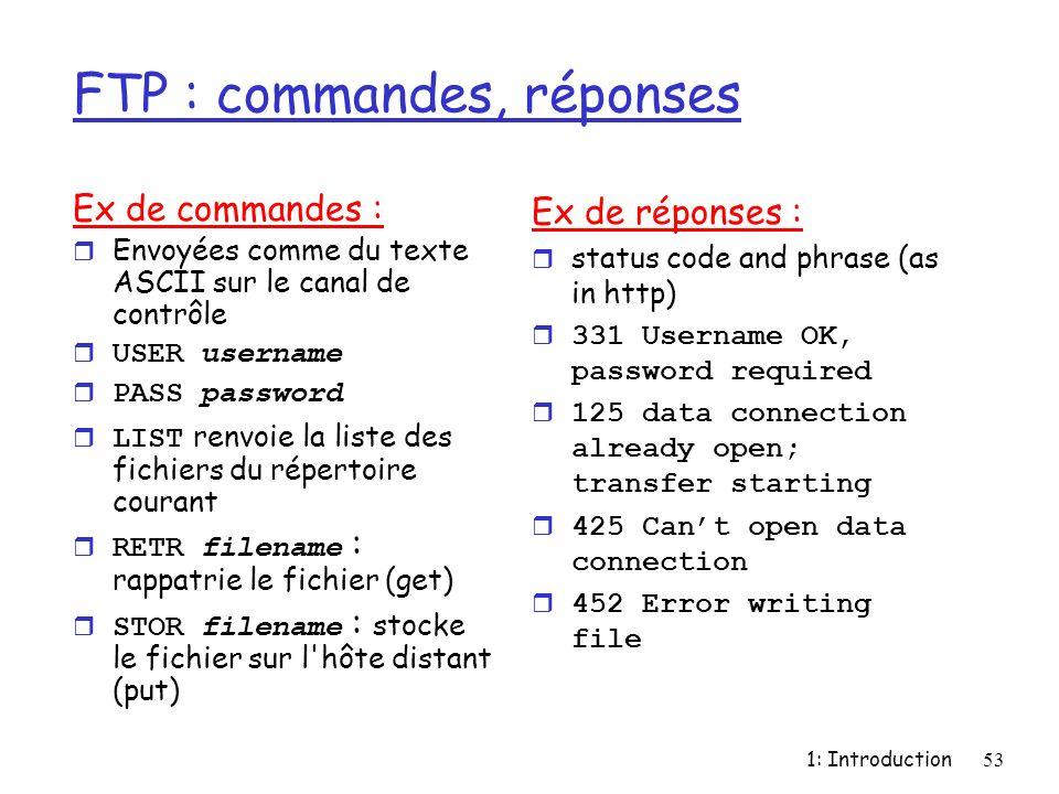 1: Introduction53 FTP : commandes, réponses Ex de commandes : r Envoyées comme du texte ASCII sur le canal de contrôle USER username PASS password LIS