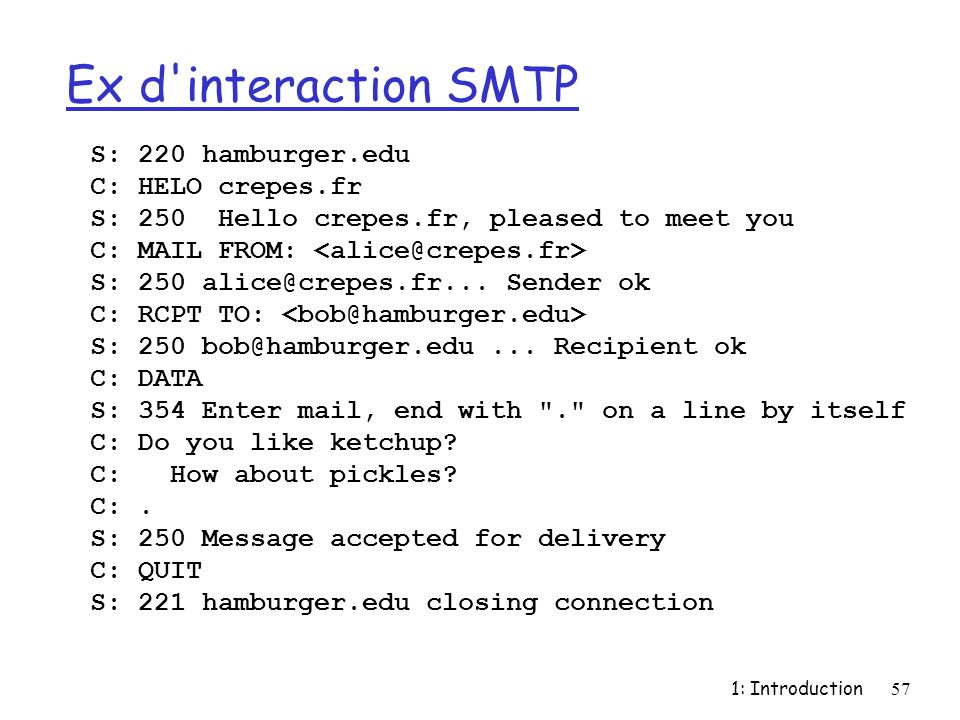 1: Introduction57 Ex d interaction SMTP S: 220 hamburger.edu C: HELO crepes.fr S: 250 Hello crepes.fr, pleased to meet you C: MAIL FROM: S: 250 alice@crepes.fr...