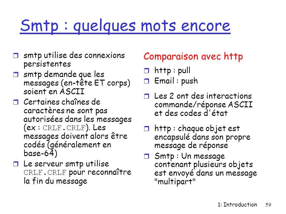 1: Introduction59 Smtp : quelques mots encore r smtp utilise des connexions persistentes r smtp demande que les messages (en-tête ET corps) soient en