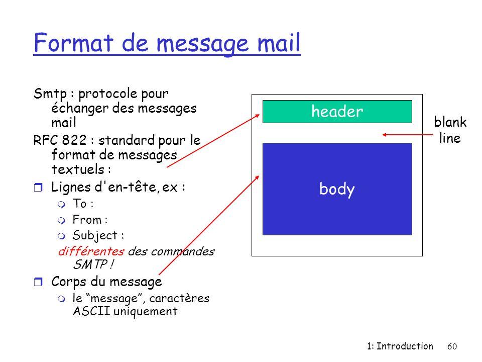 1: Introduction60 Format de message mail Smtp : protocole pour échanger des messages mail RFC 822 : standard pour le format de messages textuels : r L