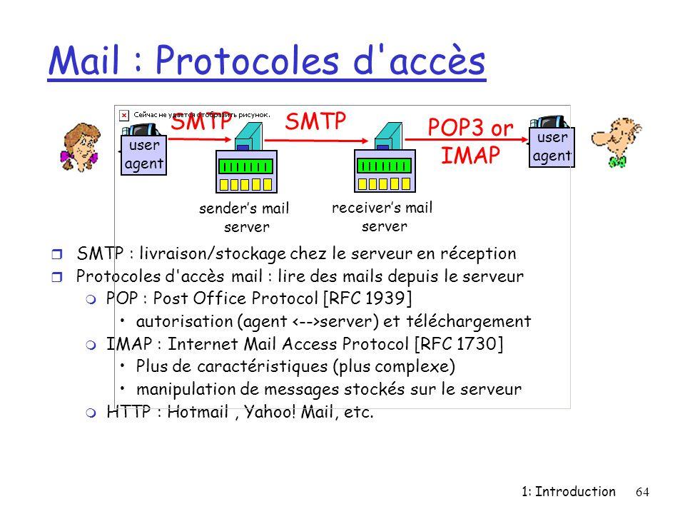 1: Introduction64 Mail : Protocoles d'accès r SMTP : livraison/stockage chez le serveur en réception r Protocoles d'accès mail : lire des mails depuis