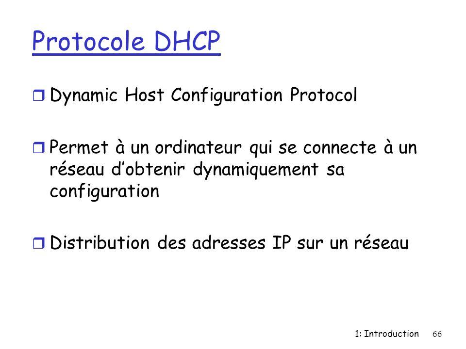 1: Introduction66 Protocole DHCP r Dynamic Host Configuration Protocol r Permet à un ordinateur qui se connecte à un réseau dobtenir dynamiquement sa