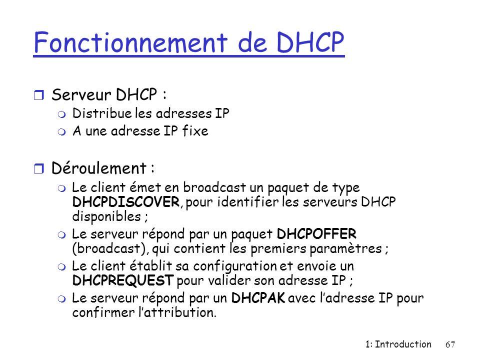 1: Introduction67 Fonctionnement de DHCP r Serveur DHCP : m Distribue les adresses IP m A une adresse IP fixe r Déroulement : m Le client émet en broa