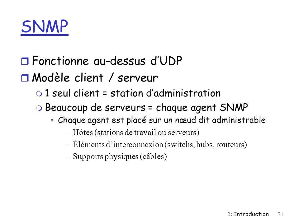 1: Introduction71 SNMP r Fonctionne au-dessus dUDP r Modèle client / serveur m 1 seul client = station dadministration m Beaucoup de serveurs = chaque