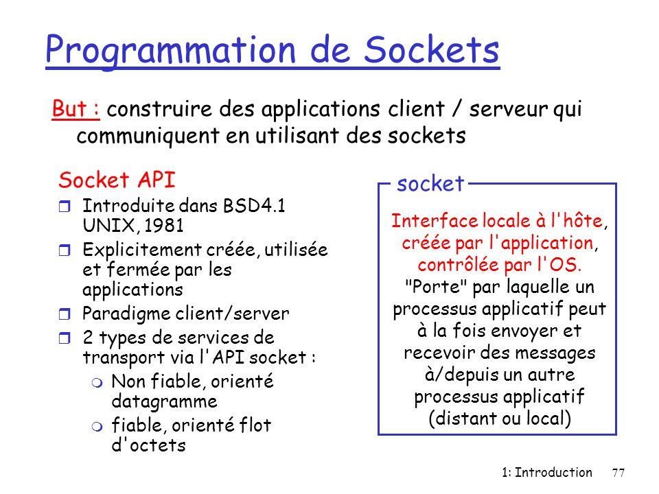1: Introduction77 Programmation de Sockets Socket API r Introduite dans BSD4.1 UNIX, 1981 r Explicitement créée, utilisée et fermée par les applicatio
