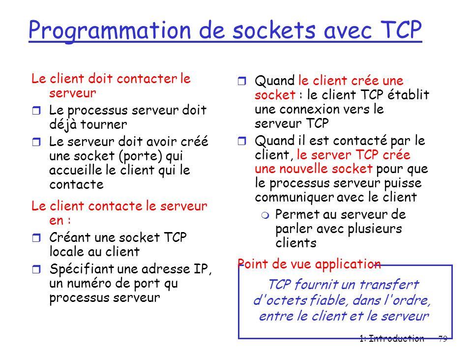 1: Introduction79 Le client doit contacter le serveur r Le processus serveur doit déjà tourner r Le serveur doit avoir créé une socket (porte) qui acc