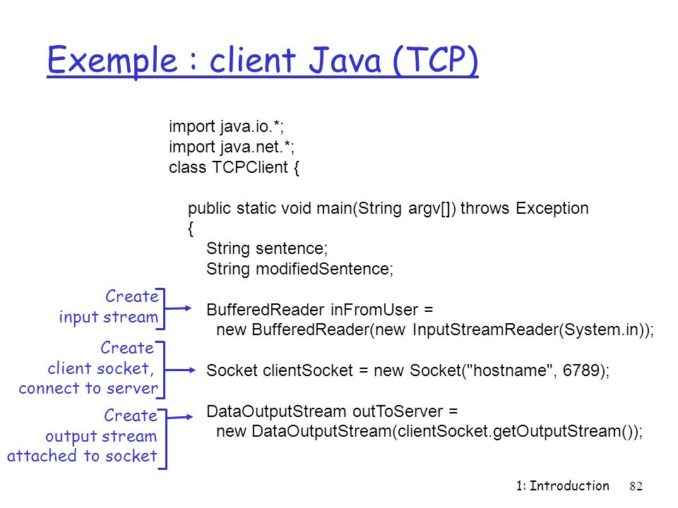 1: Introduction82 Exemple : client Java (TCP) import java.io.*; import java.net.*; class TCPClient { public static void main(String argv[]) throws Exception { String sentence; String modifiedSentence; BufferedReader inFromUser = new BufferedReader(new InputStreamReader(System.in)); Socket clientSocket = new Socket( hostname , 6789); DataOutputStream outToServer = new DataOutputStream(clientSocket.getOutputStream()); Create input stream Create client socket, connect to server Create output stream attached to socket