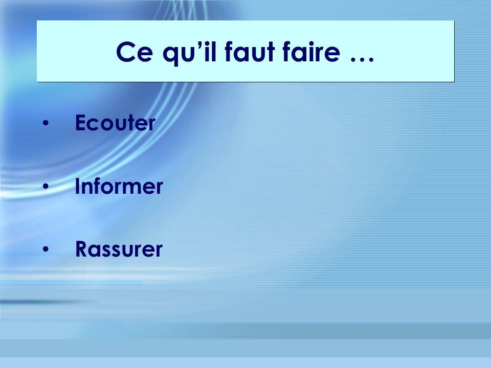 Ecouter Informer Rassurer