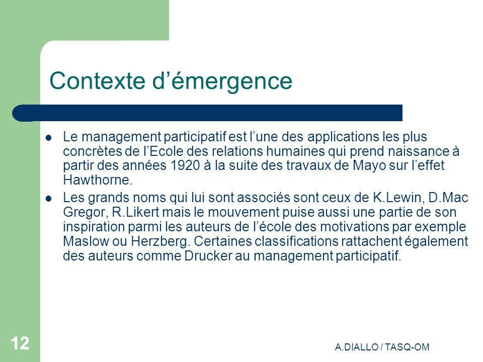 A.DIALLO / TASQ-OM 12 Contexte démergence Le management participatif est lune des applications les plus concrètes de lEcole des relations humaines qui