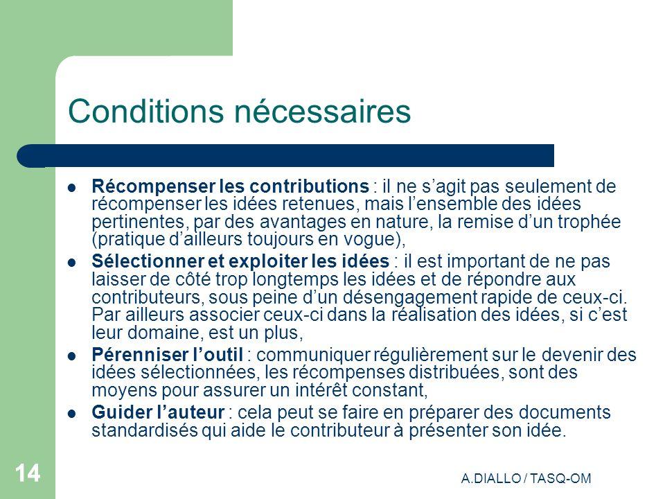 A.DIALLO / TASQ-OM 14 Conditions nécessaires Récompenser les contributions : il ne sagit pas seulement de récompenser les idées retenues, mais lensemb