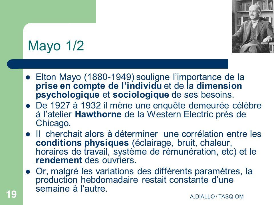 A.DIALLO / TASQ-OM 19 Mayo 1/2 Elton Mayo (1880-1949) souligne limportance de la prise en compte de lindividu et de la dimension psychologique et soci