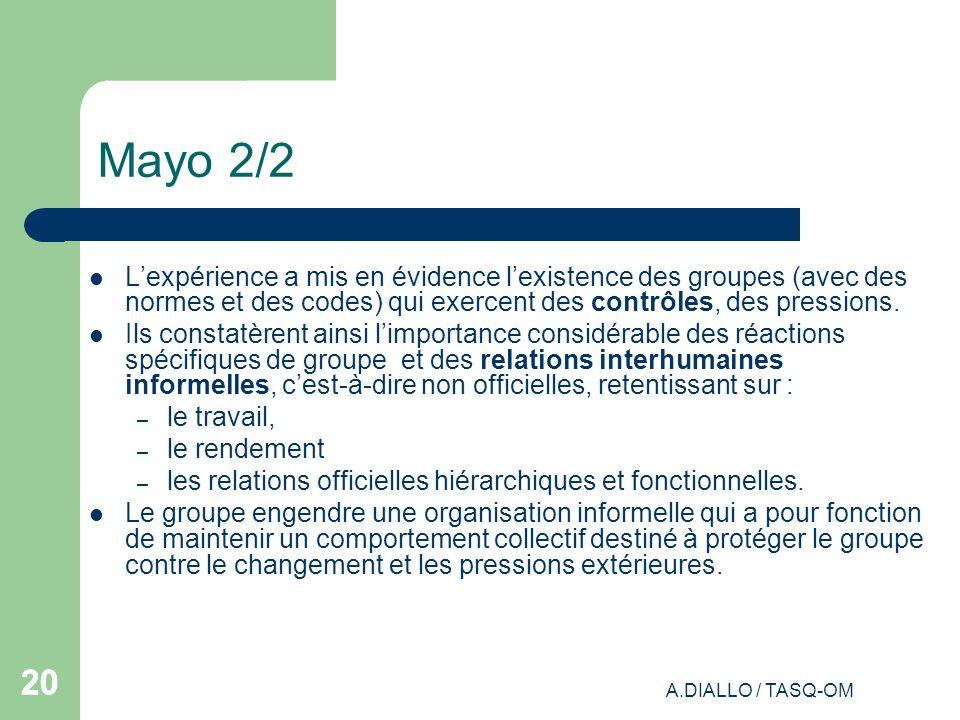 A.DIALLO / TASQ-OM 20 Mayo 2/2 Lexpérience a mis en évidence lexistence des groupes (avec des normes et des codes) qui exercent des contrôles, des pre
