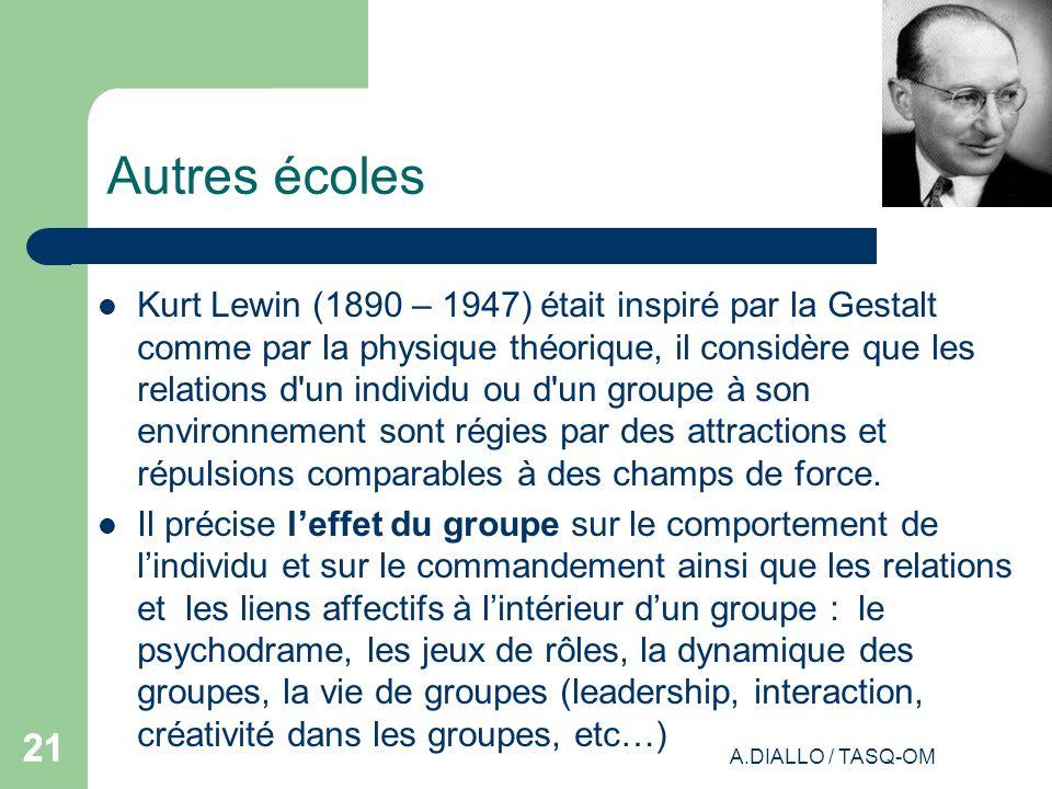 A.DIALLO / TASQ-OM 21 Autres écoles Kurt Lewin (1890 – 1947) était inspiré par la Gestalt comme par la physique théorique, il considère que les relati