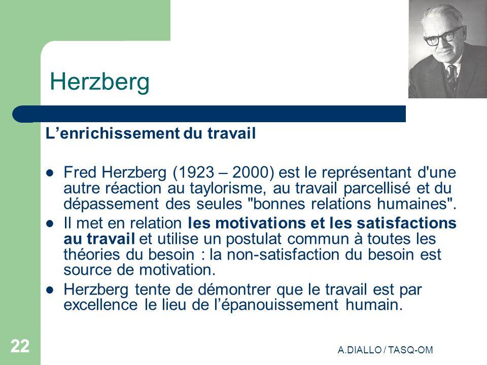 A.DIALLO / TASQ-OM 22 Herzberg Lenrichissement du travail Fred Herzberg (1923 – 2000) est le représentant d'une autre réaction au taylorisme, au trava