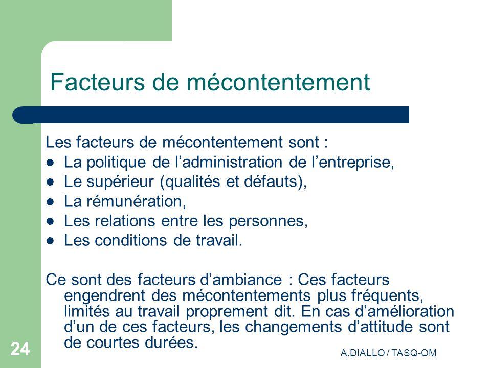 A.DIALLO / TASQ-OM 24 Facteurs de mécontentement Les facteurs de mécontentement sont : La politique de ladministration de lentreprise, Le supérieur (q