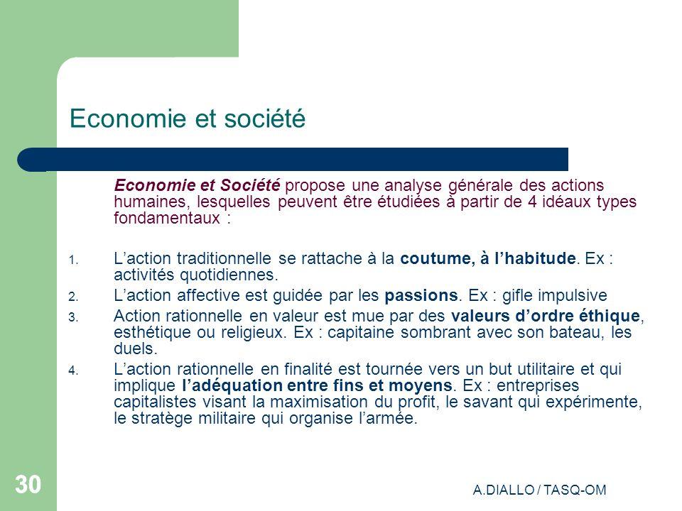A.DIALLO / TASQ-OM 30 Economie et société Economie et Société propose une analyse générale des actions humaines, lesquelles peuvent être étudiées à pa