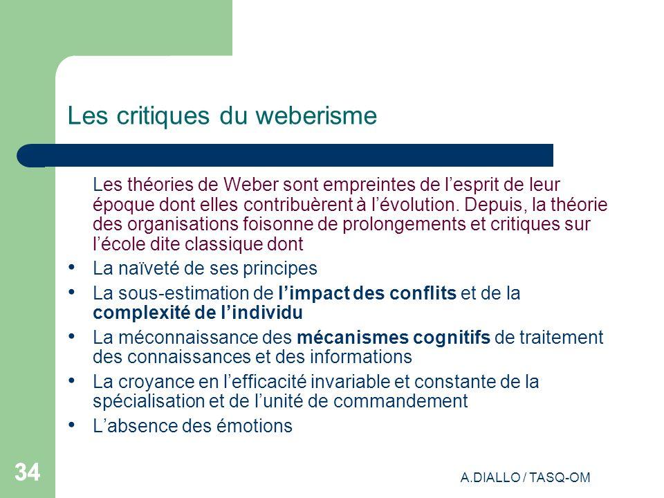A.DIALLO / TASQ-OM 34 Les critiques du weberisme Les théories de Weber sont empreintes de lesprit de leur époque dont elles contribuèrent à lévolution