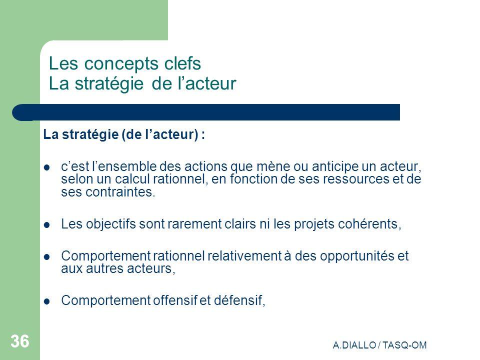 A.DIALLO / TASQ-OM 36 Les concepts clefs La stratégie de lacteur La stratégie (de lacteur) : cest lensemble des actions que mène ou anticipe un acteur
