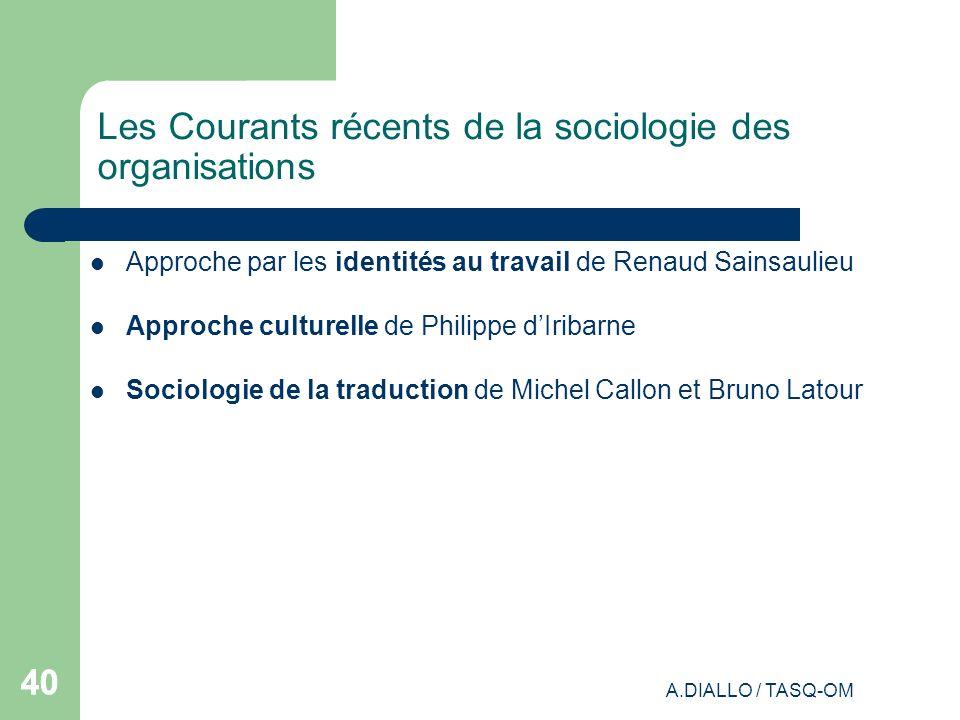 A.DIALLO / TASQ-OM 40 Les Courants récents de la sociologie des organisations Approche par les identités au travail de Renaud Sainsaulieu Approche cul