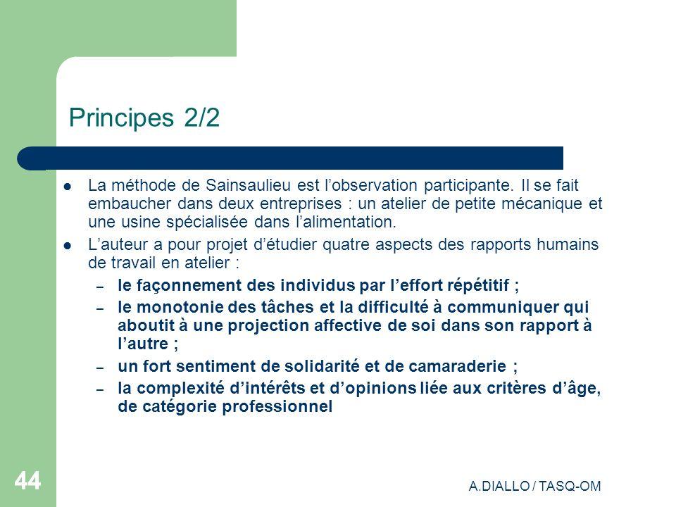 A.DIALLO / TASQ-OM 44 Principes 2/2 La méthode de Sainsaulieu est lobservation participante. Il se fait embaucher dans deux entreprises : un atelier d