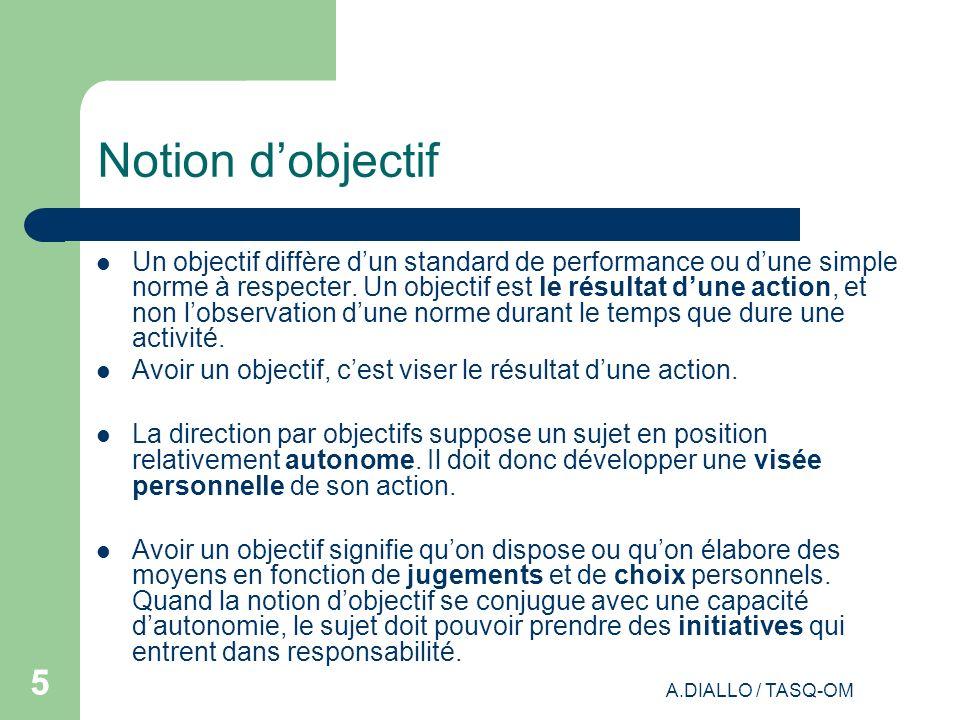 A.DIALLO / TASQ-OM 55 Notion dobjectif Un objectif diffère dun standard de performance ou dune simple norme à respecter. Un objectif est le résultat d