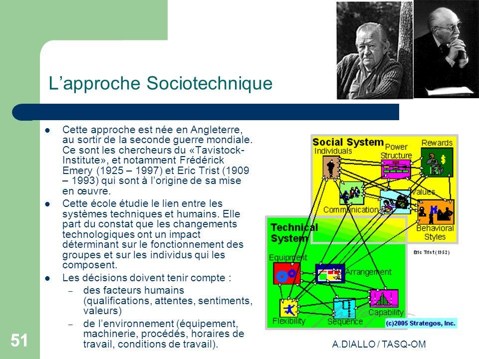 A.DIALLO / TASQ-OM 51 Lapproche Sociotechnique Cette approche est née en Angleterre, au sortir de la seconde guerre mondiale. Ce sont les chercheurs d