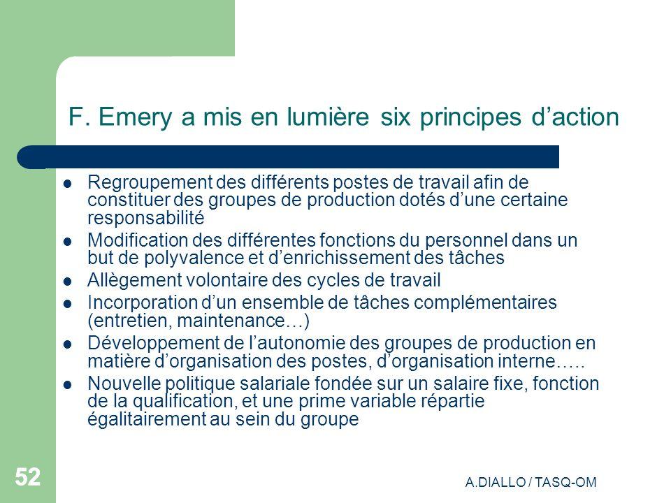 A.DIALLO / TASQ-OM 52 F. Emery a mis en lumière six principes daction Regroupement des différents postes de travail afin de constituer des groupes de