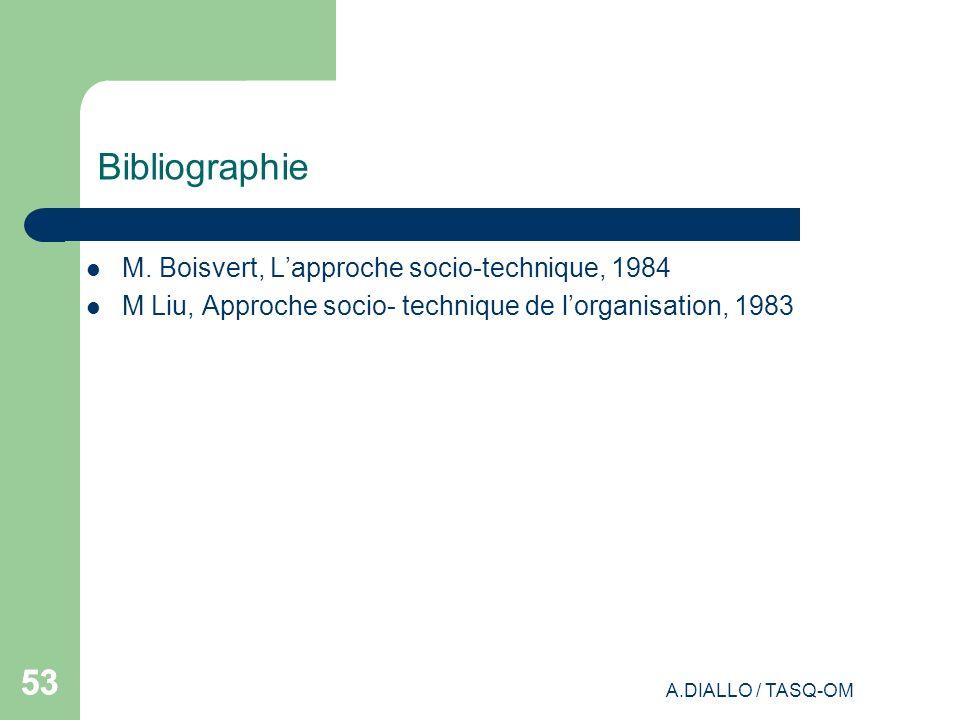 A.DIALLO / TASQ-OM 53 Bibliographie M. Boisvert, Lapproche socio-technique, 1984 M Liu, Approche socio- technique de lorganisation, 1983