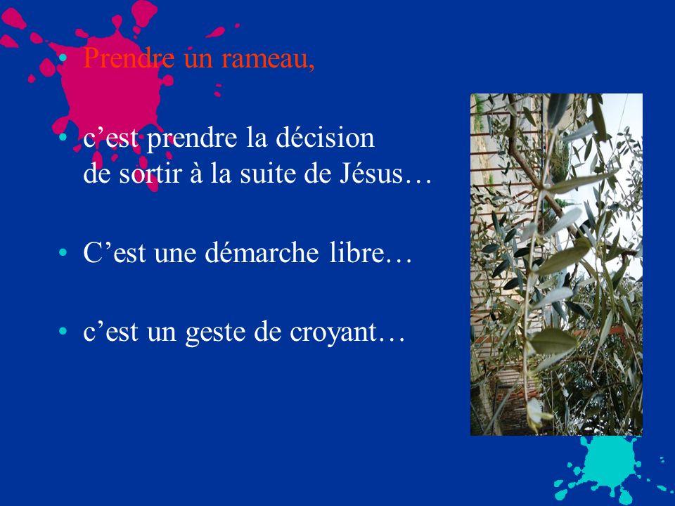 Prendre un rameau, cest prendre la décision de sortir à la suite de Jésus… Cest une démarche libre… cest un geste de croyant…