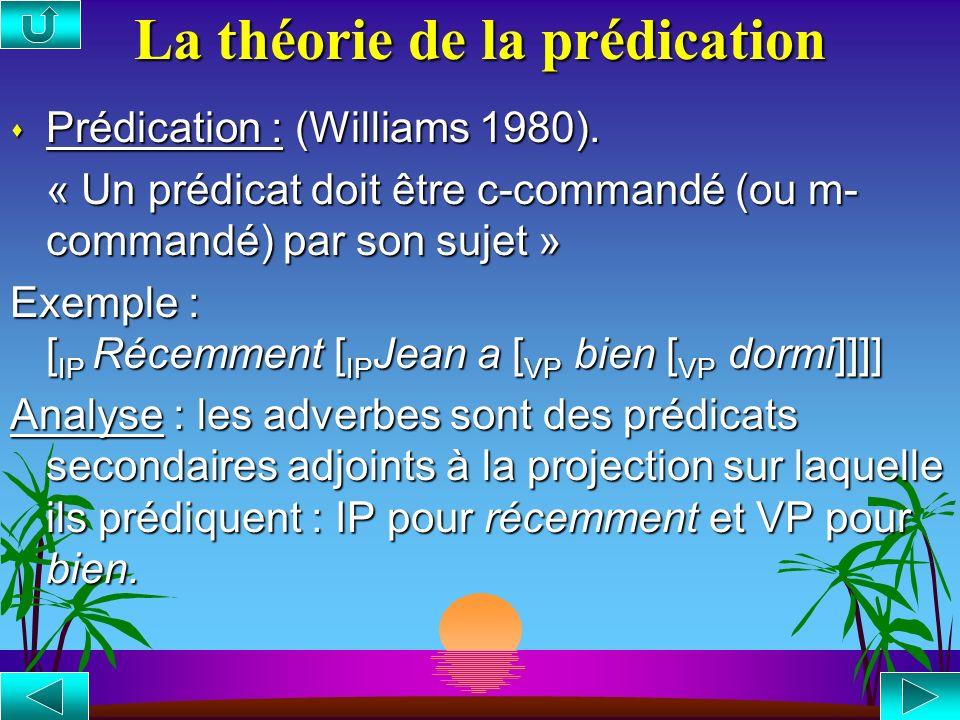 La théorie de la modification s Modification : (Zubizarreta 1987). « A modifie B dans le contexte [ C …A…B…] ssi C domine immédiatement A et B, C est