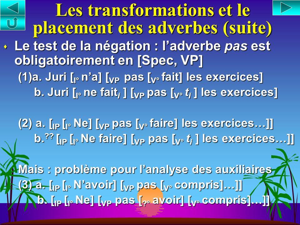 Les transformations et le placement des adverbes 1. Le mouvement du verbe (Pollock 1989, Belletti 1990) voir aussi cours VI cours VIcours VI –Verbes c