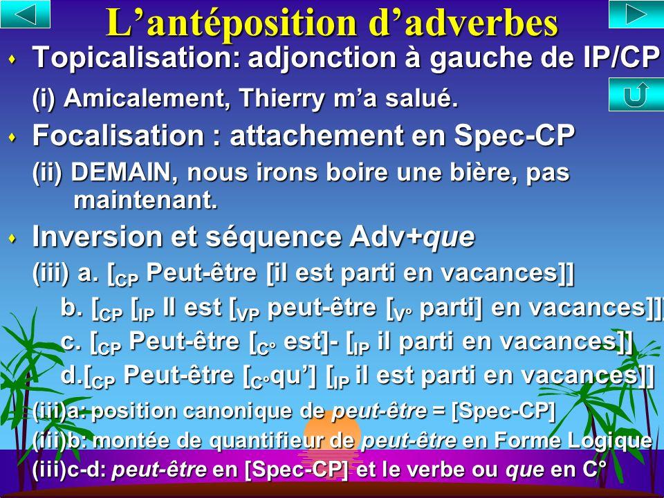 Lextraposition s Extraposition = placement dun constituant en position finale de la phrase (1)a. Juri a [ VP tranquillement [ V° fait] les exos] b. Ju