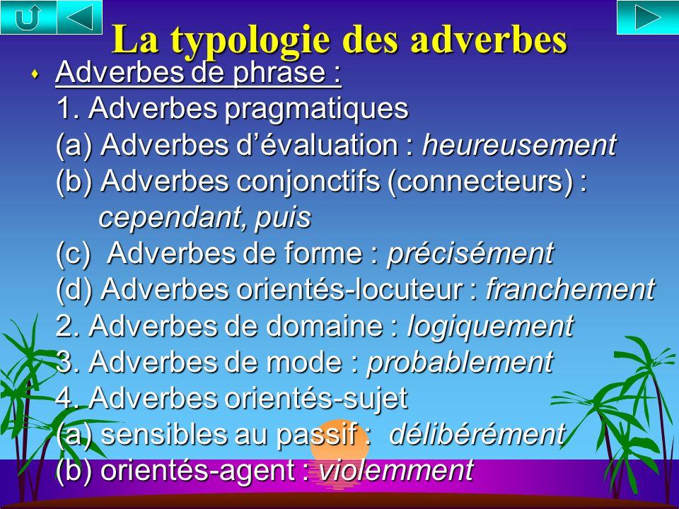La syntaxe des adverbes (suite) 3. La légitimité contextuelle des adverbes (i) le principe de la modification (ii) le principe de la prédication (iii)