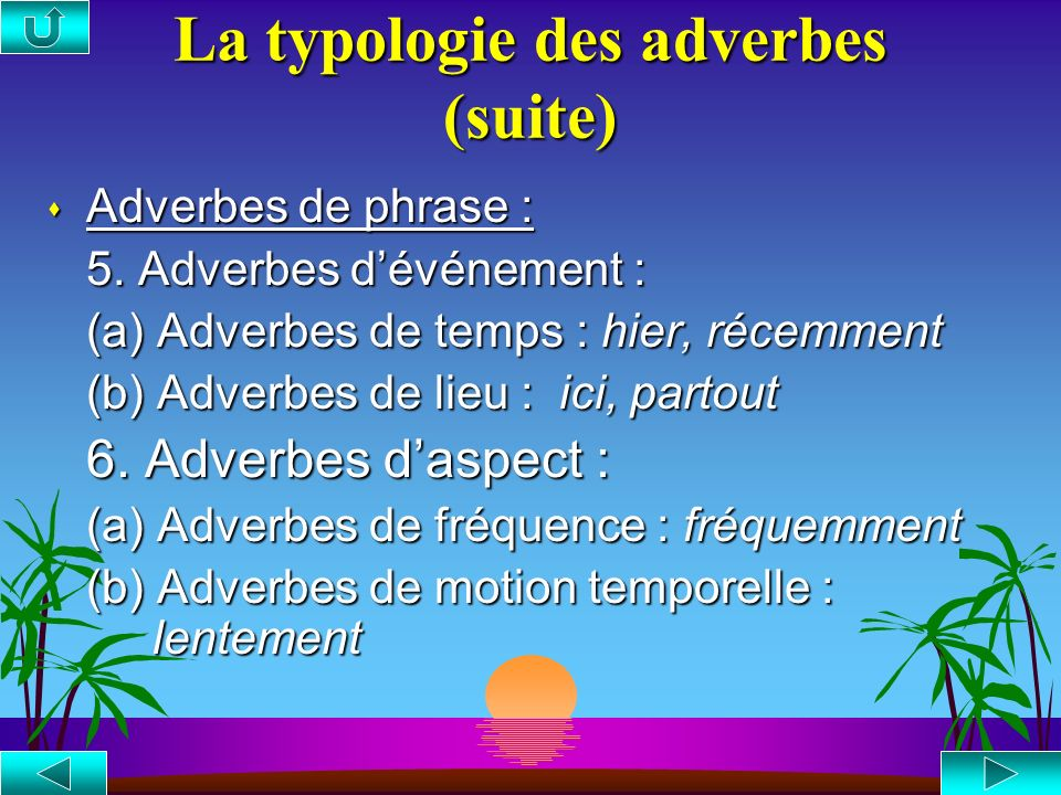 La typologie des adverbes s Adverbes de phrase : 1. Adverbes pragmatiques (a) Adverbes dévaluation : heureusement (b) Adverbes conjonctifs (connecteur