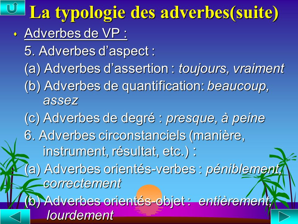 La typologie des adverbes (suite) s Adverbes de phrase : 5. Adverbes dévénement : (a) Adverbes de temps : hier, récemment (b) Adverbes de lieu : ici,