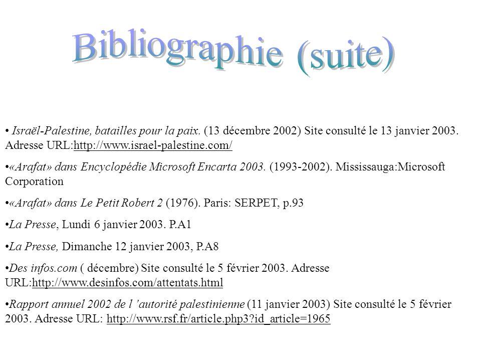 Proche-Orient.infos(sans date) Site consulté le 13 janvier 2003. Adresse URL: http://www.proche-orient.info/xww_fiche.php_3?id_atricle=27 Les lauréats