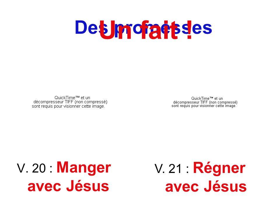 Des promesses V. 20 : Manger avec Jésus V. 21 : Régner avec Jésus Un fait !