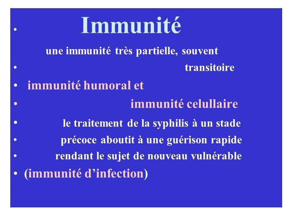 Immunité une immunité très partielle, souvent transitoire immunité humoral et immunité celullaire le traitement de la syphilis à un stade précoce abou