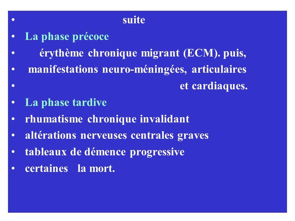 suite La phase précoce érythème chronique migrant (ECM). puis, manifestations neuro-méningées, articulaires et cardiaques. La phase tardive rhumatisme