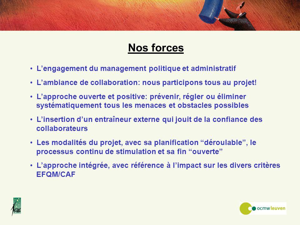 Nos forces Lengagement du management politique et administratif Lambiance de collaboration: nous participons tous au projet! Lapproche ouverte et posi