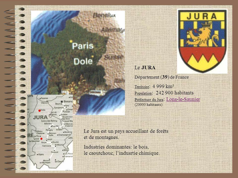 Le JURA Département (39) de France Territoire : 4 999 km² Population : 242 900 habitants Préfecture du Jura : Lons-le-Saunier (20000 habitants)Lons-le