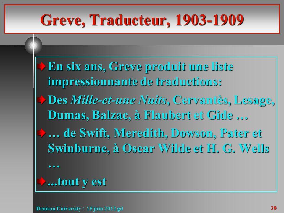 20 Denison University / 15 juin 2012 gd Greve, Traducteur, 1903-1909 En six ans, Greve produit une liste impressionnante de traductions: Des Mille-et-