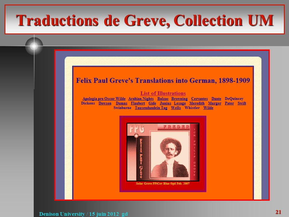 21 Denison University / 15 juin 2012 gd Traductions de Greve, Collection UM