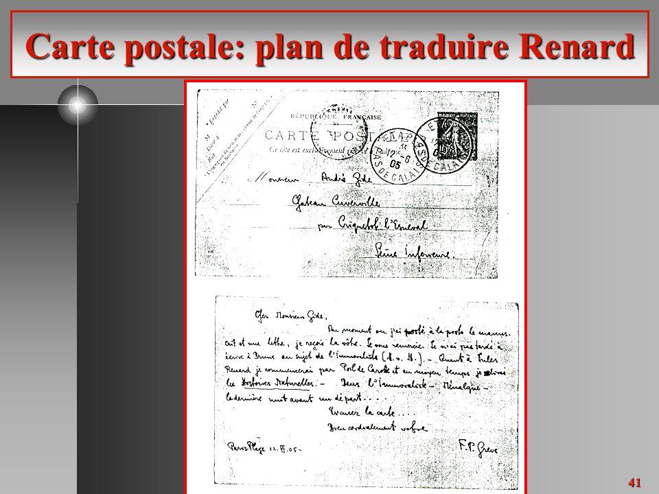 41 Carte postale: plan de traduire Renard