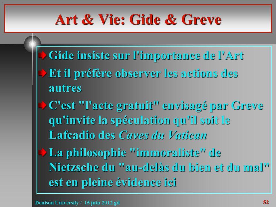 52 Denison University / 15 juin 2012 gd Art & Vie: Gide & Greve Gide insiste sur l'importance de l'Art Et il préfère observer les actions des autres C