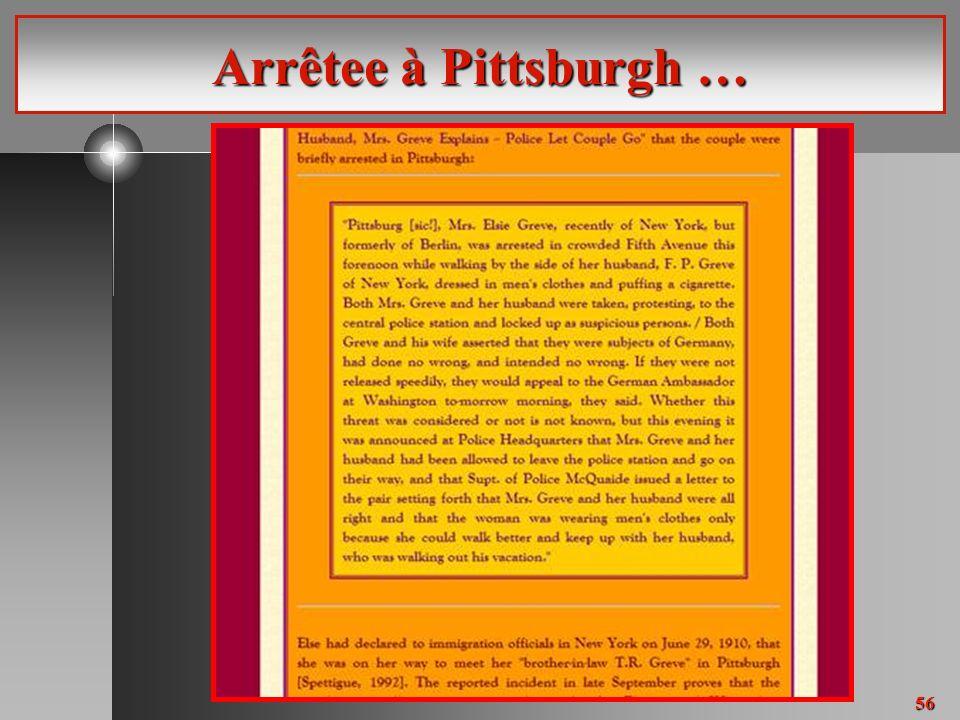 56 Arrêtee à Pittsburgh …