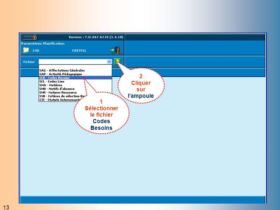 13 2 lampoule Cliquer sur lampoule Codes Besoins 1 Sélectionner le fichier Codes Besoins