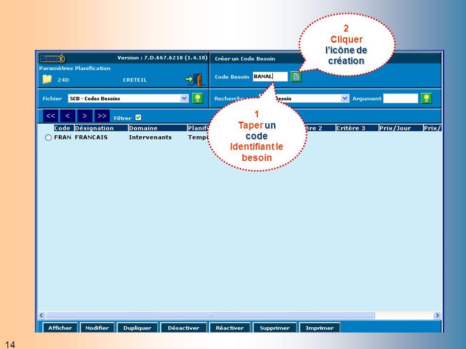 14 2 licônede création Cliquer licône de création 1 un code Taper un code Identifiant le besoin