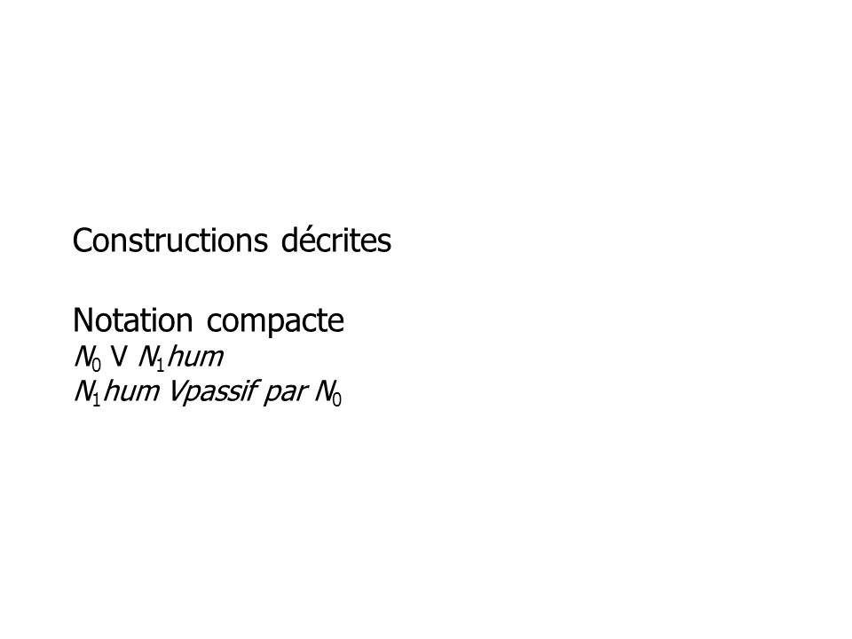 Constructions décrites Notation compacte N 0 V N 1 hum N 1 hum Vpassif par N 0